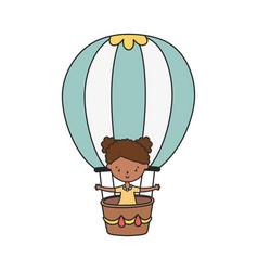 Happy little girl cartoon character in hot air vector