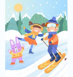 Happy young kids enjoying winter snow vector