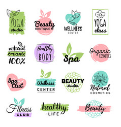 health and beauty care labels spa yoga vector image