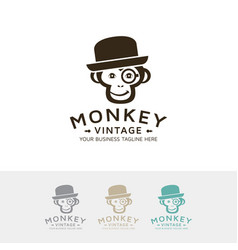 hipster monkey logo vector image