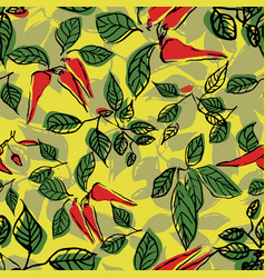Hot chilli pepper leaves seamless repeat pattern vector