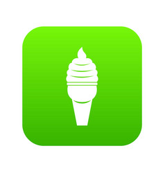 ice cream in waffle cone icon digital green vector image