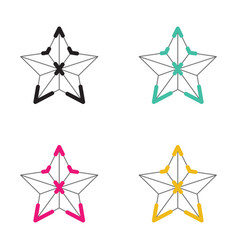 Icon christmas star neon light style vector