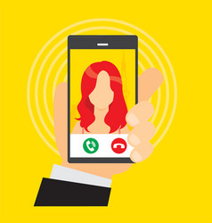incoming calls from a girl vector image