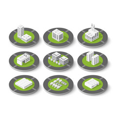isometric set city urban vector image