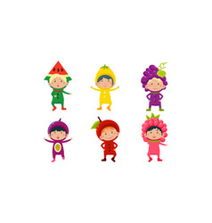 Kids in carnival clothes set cute little boys and vector