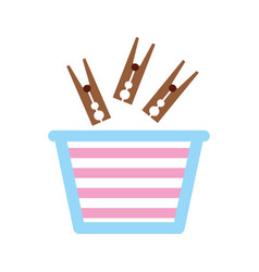 Laundry basket with clothespin vector