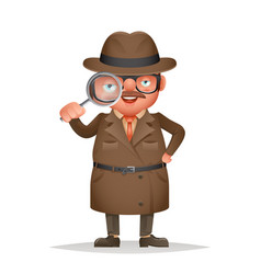 Magnifying glass detective spy investigation coat vector