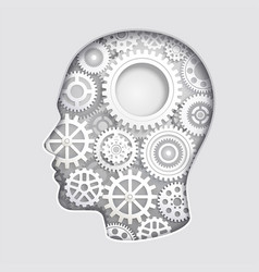 man head mind thinking with gear symbol paper cut vector image