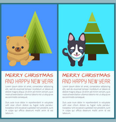Merry christmas set of dogs vector