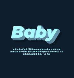 Modern alphabet 3d soft blue text effect or font vector