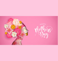 Mothers day card of pink papercut mom and flowers vector