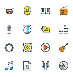 Multimedia icons colored line set with speaker vector