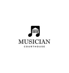 music note with courthouse logo design concept vector image