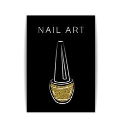 Nail polish gold glitter shiny flyer vector