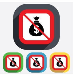 No Money bag sign icon Dollar USD currency vector image