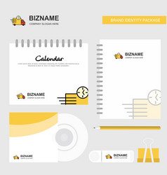 on time delivery logo calendar template cd cover vector image