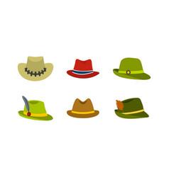 panama hat icon set flat style vector image