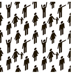 pattern with people black icons on white vector image