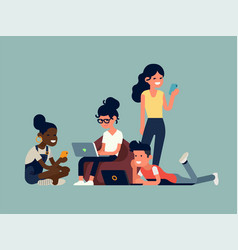 People using their phones in different poses vector