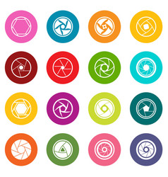 photo diaphragm icons many colors set vector image