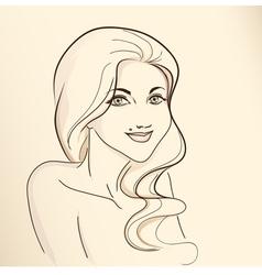 Portrait of woman nude color vector image