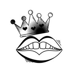 Queen crown with mouth pop art vector