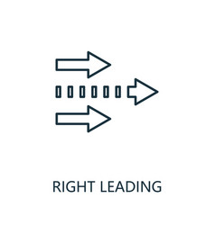 right leading outline icon thin line concept vector image