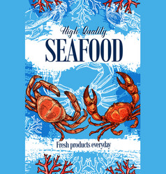 Seafood crab ocean food products store sketch vector