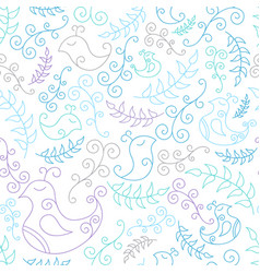 Seamless pattern with blue birds and branches vector