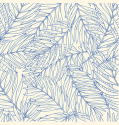 Seamless pattern with contour tropical palm leaves vector