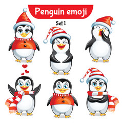 Set of christmas penguin characters set 1 vector