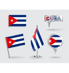 Set of Cuban pin icon and map pointer flags vector image