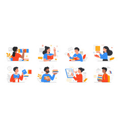 set people literature fans vector image