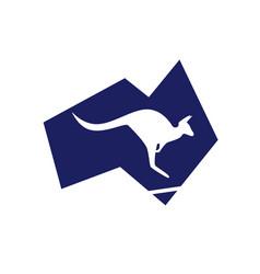 Simplified geometric australia map with kangaroo vector