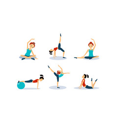 slim young woman doing fitness workout active vector image