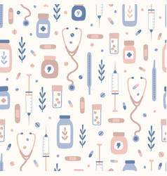 small medical objects and plants seamless pattern vector image