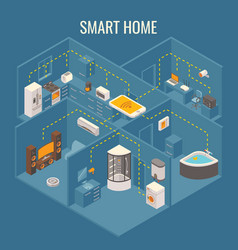 Smart house concept flat 3d isometric vector