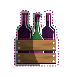 Sticker different wine bottles icon vector