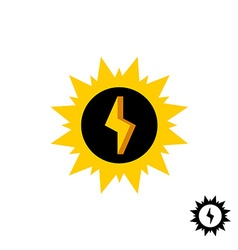 Sun energy logo with lightning bolt vector
