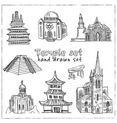 temple hand drawn doodle set vector image