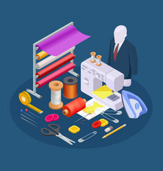 textile industry composition isometric sewing vector image