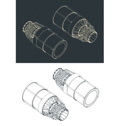 Thrust control nozzle isometric drawings vector