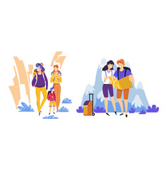tourism travelers couple and family traveling vector image