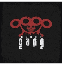 Urban gang grunge emblem with brass knuckles and vector