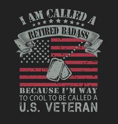 us veteran dog tag and flag vector image