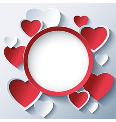 Valentines day background frame with 3d hearts vector