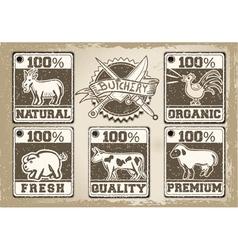 Vintage Labels Page for Butcher Shop vector image vector image