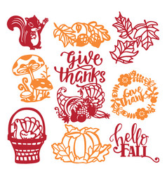 Vintage thanksgiving harvest paper cut design vector