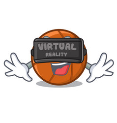 Virtual reality basket ball isolated in mascot vector